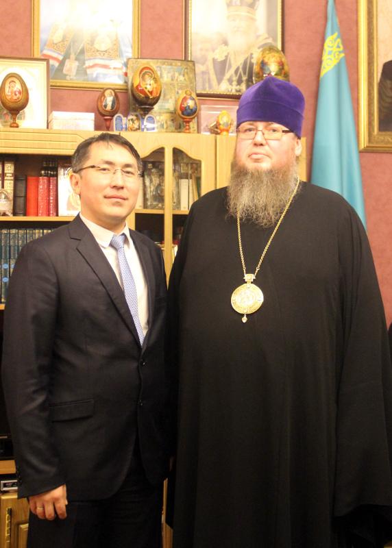 Состоялась встреча епископа Владимира с заместителем акима Северо-Казахстанской области в епархиальном управлении