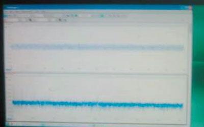 Осциллограмма и амплитудно-частотная характеристика фона в Храме Гроба Господня до момента схождения Благодатного Огня